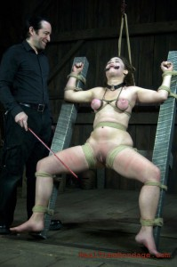 Slave Charlotte bound open and caned