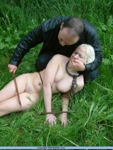 Cold, wet, bound slave gets punished