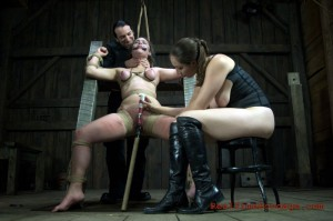 Bound slave forced to cum